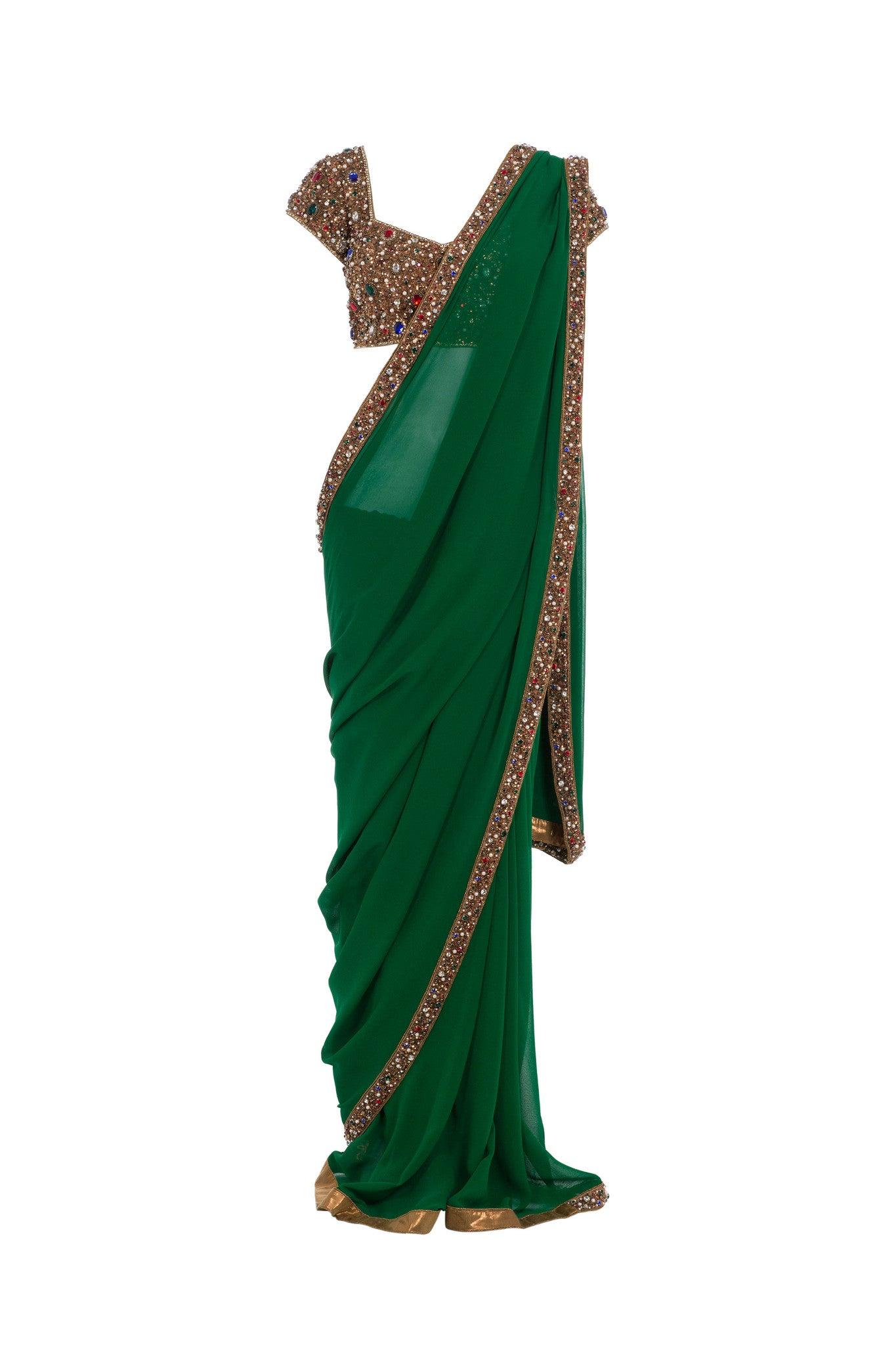 Seema Khan Green Saree Front