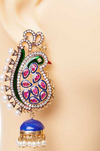 Blue, Green & Pink Moraya Earrings