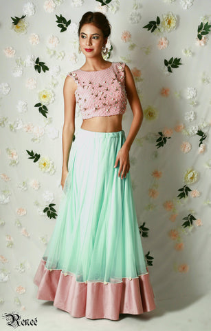Blush Pink & Mint Green Lehenga