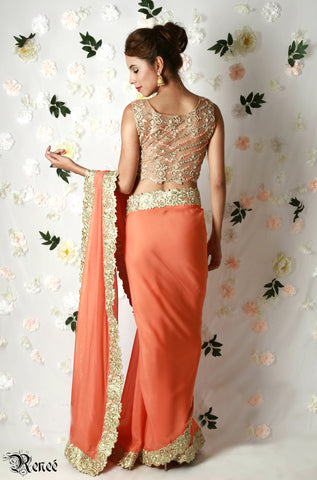 Tangerine and Gold Saree
