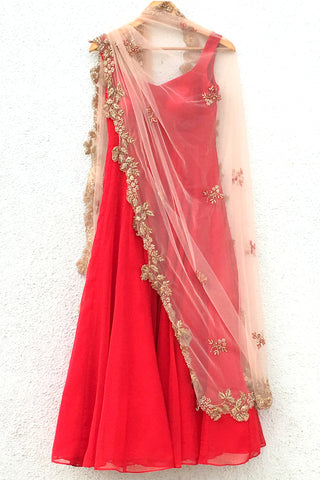 Red Anarkali With Rose Pink Embroidered Dupatta