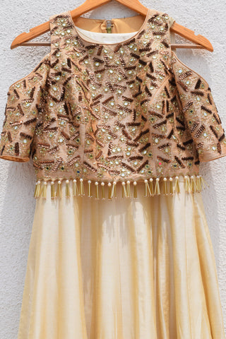 Ivory Plain Anarkali With Mirror & Sequins Embroidered Jacket