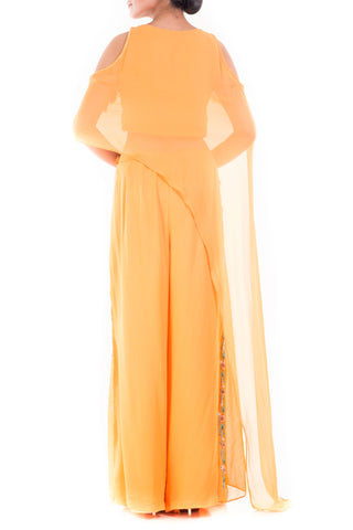 Alphonso Yellow Cold Shoulder Cape & Palazzo Set