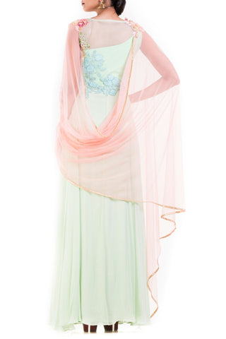 Mint Green One Shoulder Suit With Pale Peach Attached Dupatta