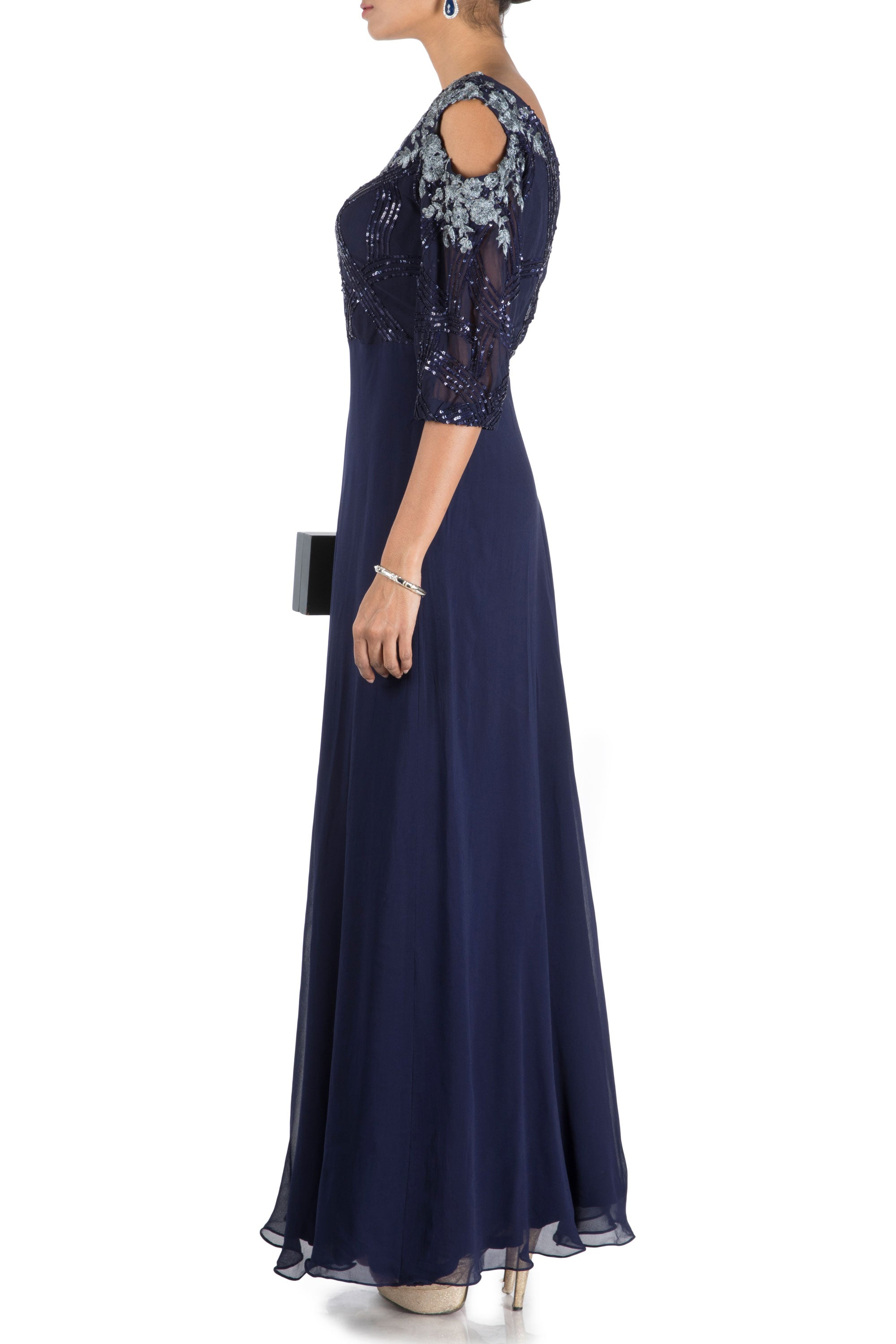 Midnight Blue Off Shoulder Flare Gown With One Side Cold Shoulder Side