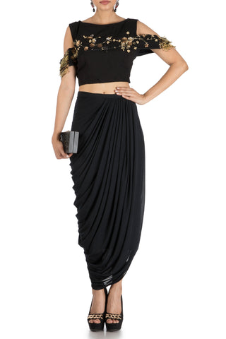 Black Bandeau Crop Top And Dhoti Skirt Front