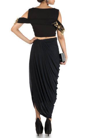 Black Bandeau Crop Top And Dhoti Skirt