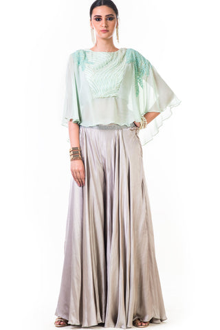 Aqua Green Cape Blouse With Grey Palazzo Pants Front