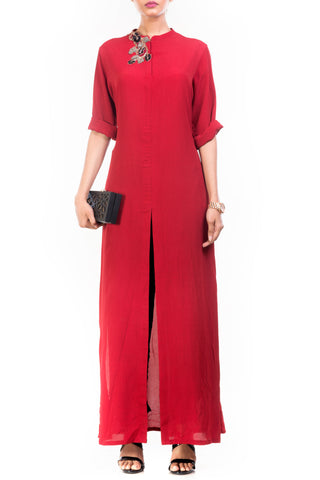 Ox Blood Long Length Tunic Front