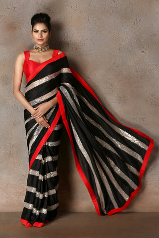 Black & White Habotai Silk Saree Front
