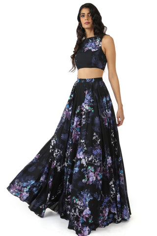 Black Floral Cotton Lehenga FRONT