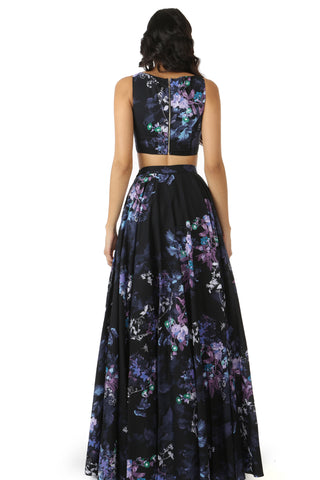 Black Floral Cotton Lehenga