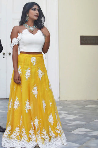 Embroidered Chiffon Yellow And White Lehenga
