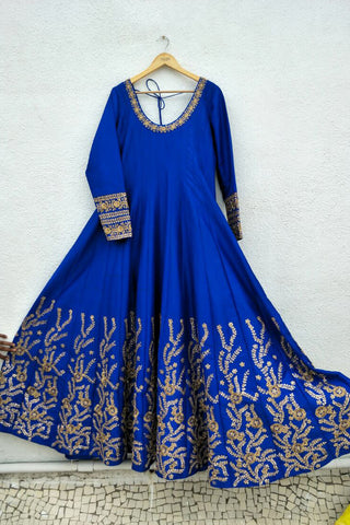 Azure Electric Blue Kundan Anarkali