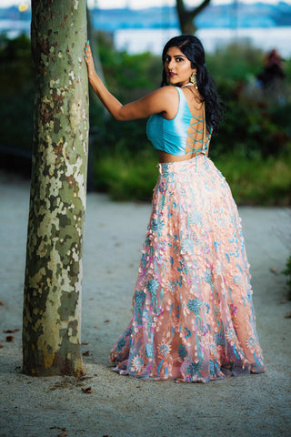 Peach And Aqua Blue Embroidered Lehenga
