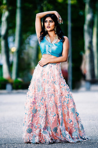 Peach And Aqua Blue Embroidered Lehenga FRONT