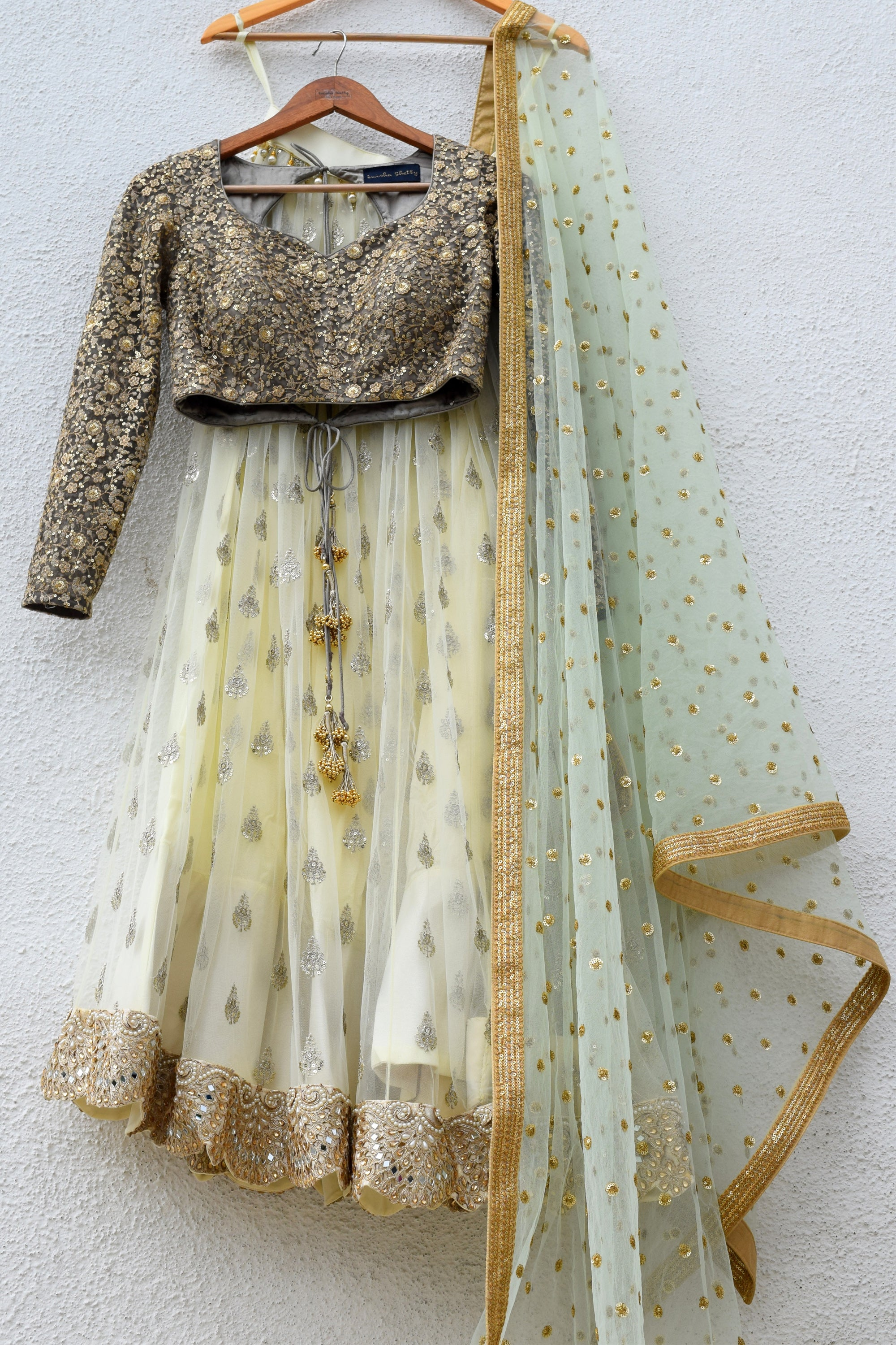 Banana Yellow Lehenga With Slate Grey Blouse & Mint Green Dupatta