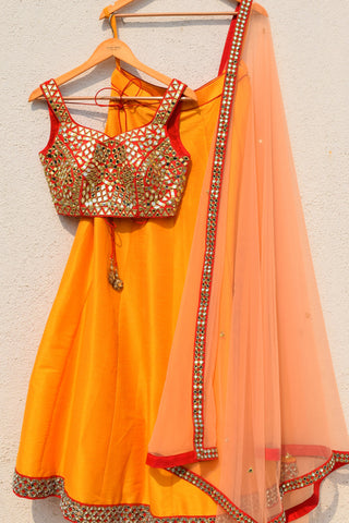 Mango Lehenga With Red Mirror Blouse