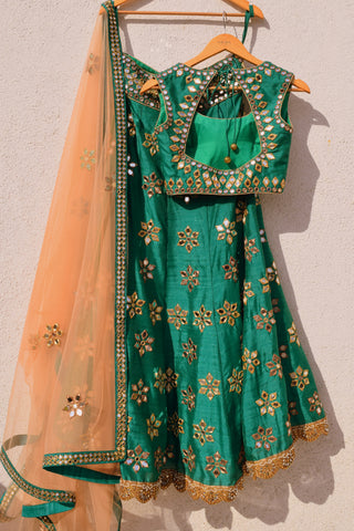 Green Mirror Work Lehenga With Peach Dupatta