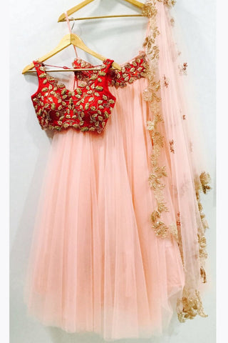 Peach Rose Pink Lehenga With Red Blouse