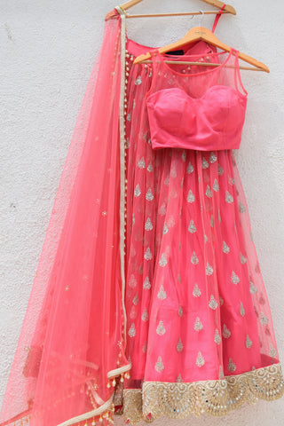 Dark Pink Lehenga With Plain Blouse & Dupatta