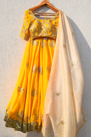 Yellow Gota Patti Lehenga With Blouse