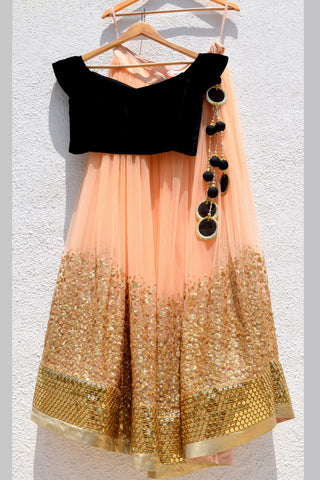 Peach & Gold Lehenga With Black Velvet Blouse