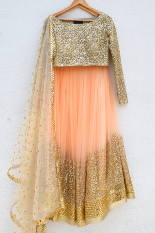 Desert Peach Sand Sequins Lehenga & Nude Gold Sequins Blouse