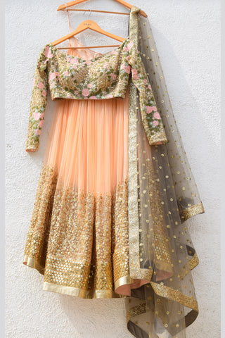 Desert Peach Sand Sequins Lehenga With Dark Oyster Blouse