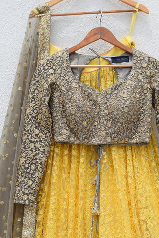 Pineapple Yellow Lehenga With Slate Grey Blouse & Dupatta