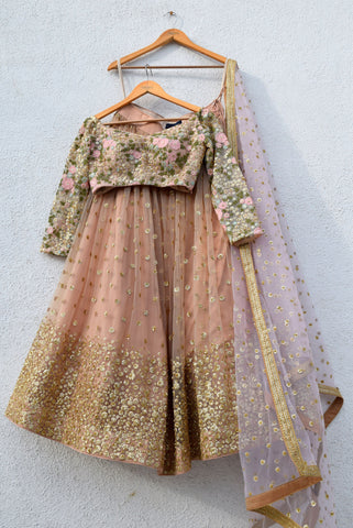 Peanut Tan Sequin Lehenga Set With Oyster Floral Blouse
