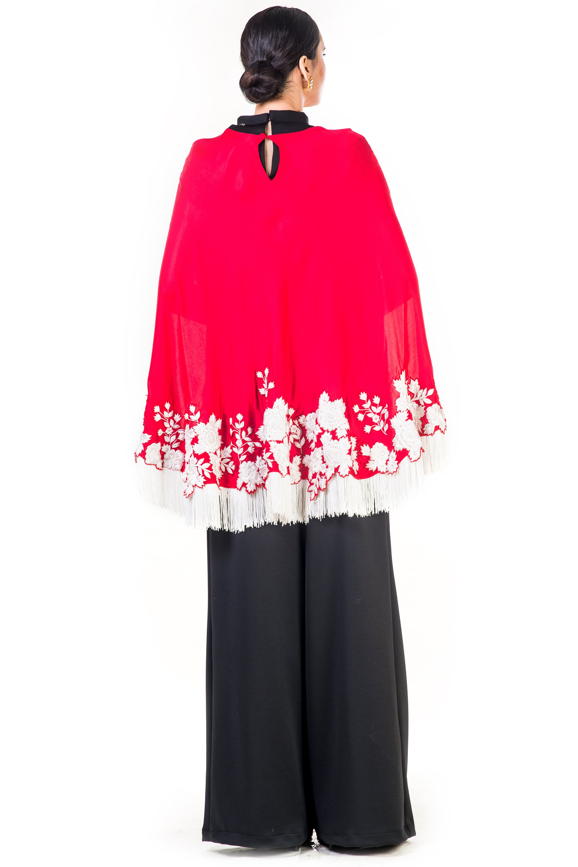 Embroidered Red Tasselled Cape Back