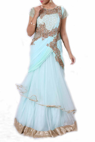 Aqua & Green Shaded Gown Style Saree Front