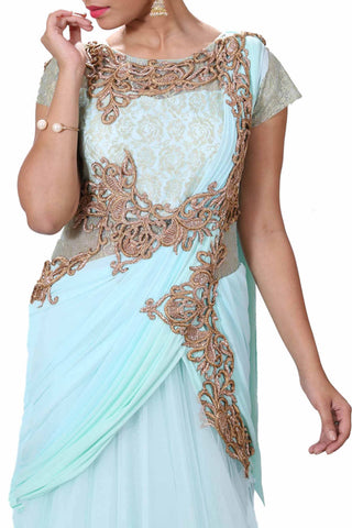 Aqua Blue & Green Shaded Gown Style Saree