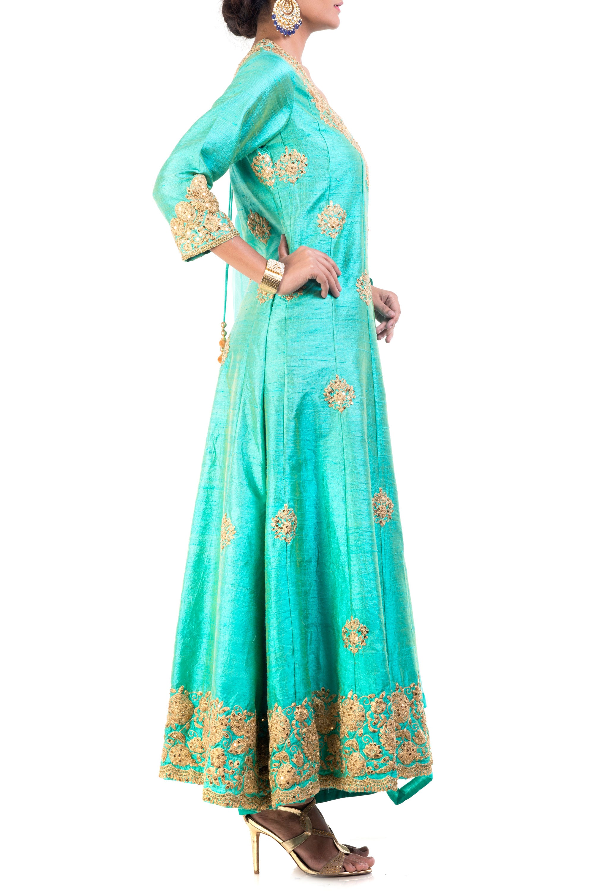 Turquoise Raw Silk Floral Suit Set Side