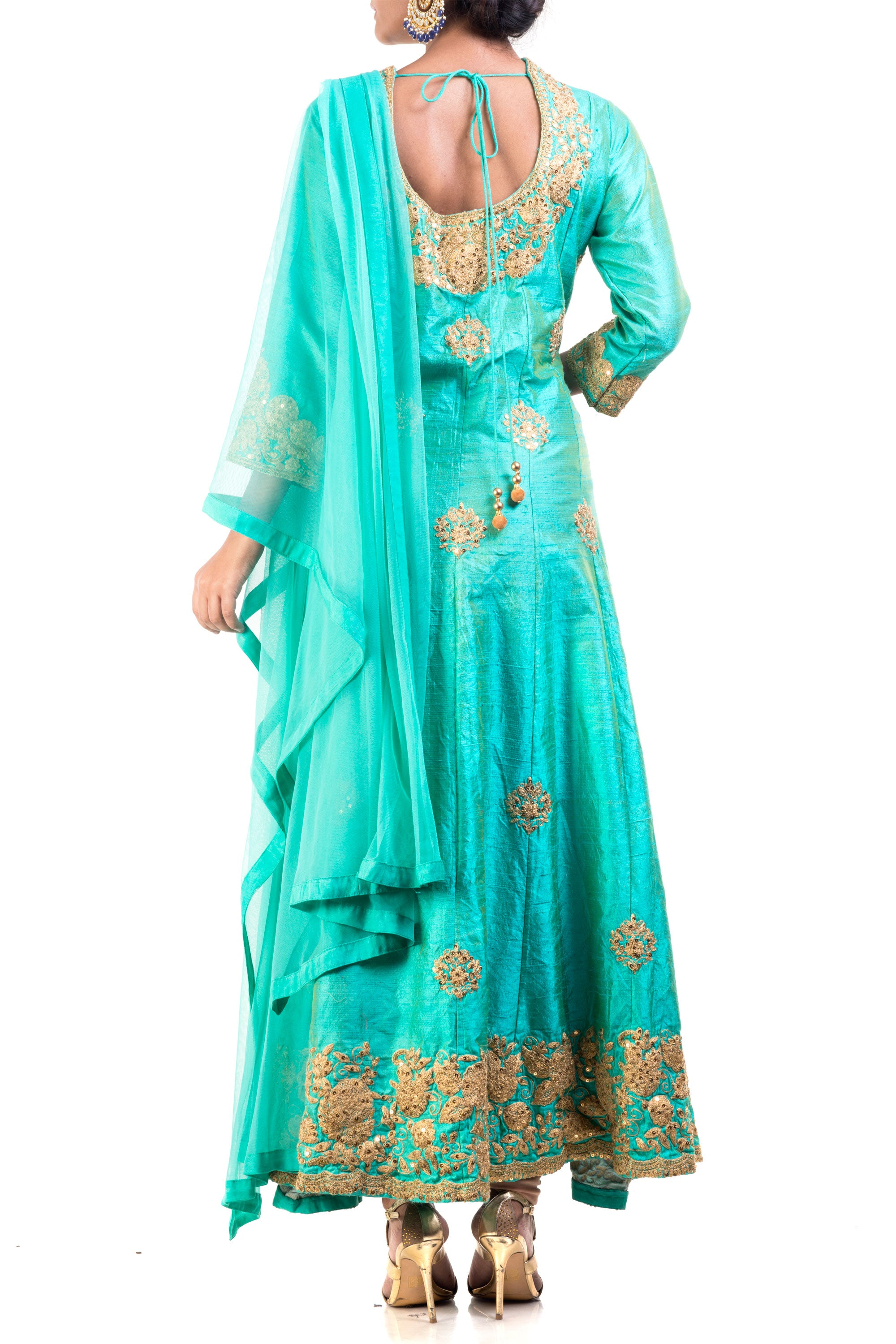Turquoise Raw Silk Floral Suit Set Back