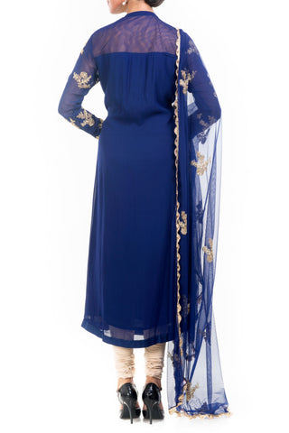 Midnight Blue Straight Tunic With Dupatta