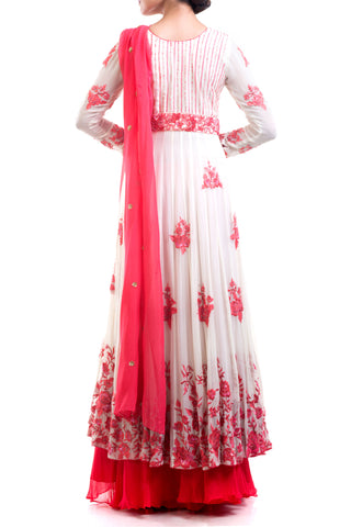 Antique White & Red Embroidered Suit Set
