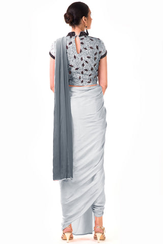 Grey Draped Dhoti & Patta Work Crop Top