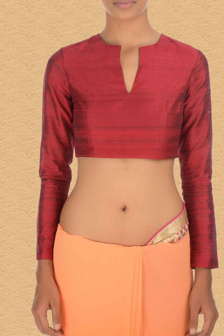 Indian Red Blouse With Split Neck FRont