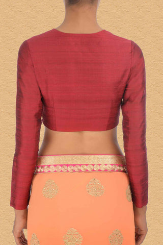 Raw Silk Red Blouse With Split Neck