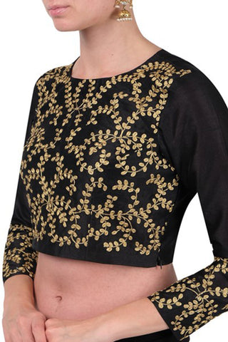 Black Full Sleeves Blouse With Dori Work