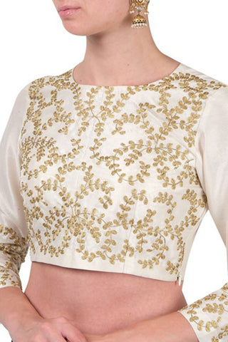 White Full Sleeves Blouse With Dori Work