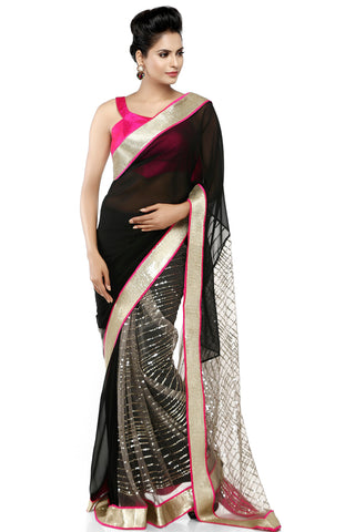 Black Georgette Saree With Gold Border Front