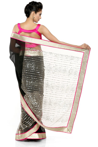 Black Georgette Saree With Gold Border