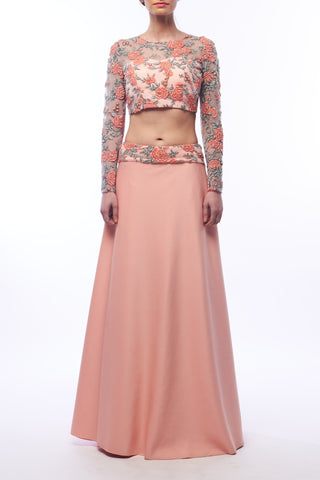 Floral Net Blouse With Lycra Skirt Front