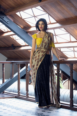 Yellow & Black Sequins Saree With Printed Pallu