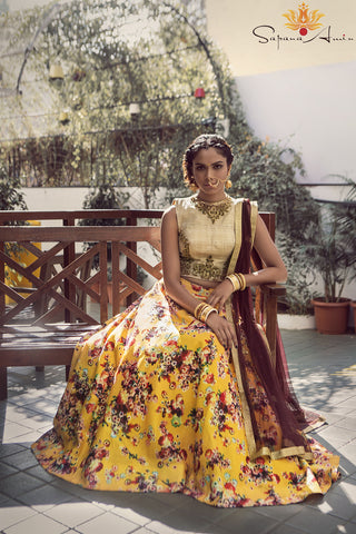 Yellow Floral Lehenga Front