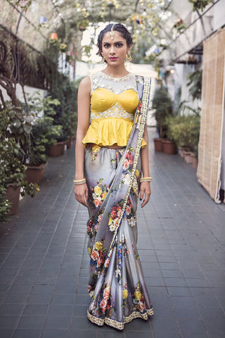 Grey & Yellow Saree Front