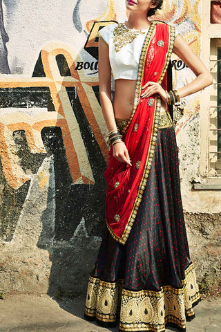 Black & Red Bhandni Lehenga Front
